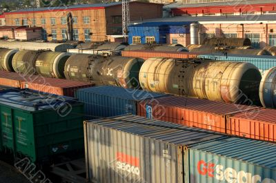 Industrial carriages at the rail road in Russia