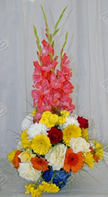 Rose Gladiolus and assorted Flower Bouquet ikebana