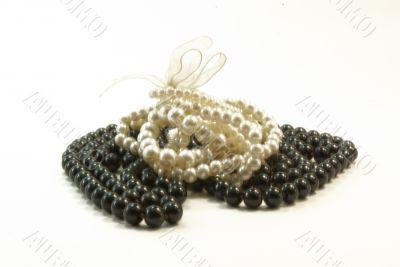 Black beads and white braclet