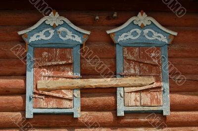 Windows of Russian village house