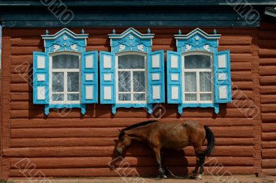 Old Village House With a horse