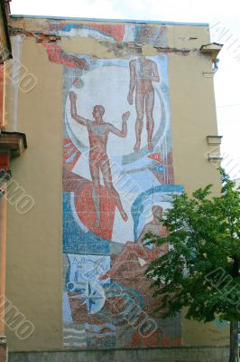 Old Soviet mosaic on the wall