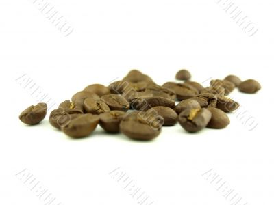 Coffee beans very close and coffee in zoom