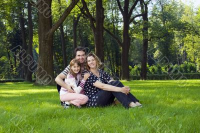 Lucky family on lawn