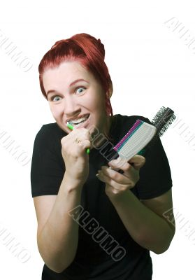 Funny woman with combs