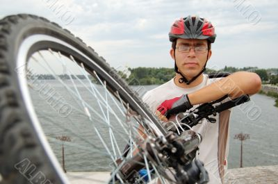 Portrait of cross country cyclist