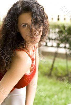 beautiful brunet woman in red