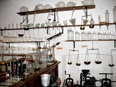 Flasks in old pharmacy