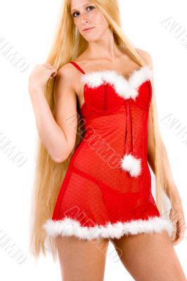 Pretty looking christmas faerie with very long blond hair