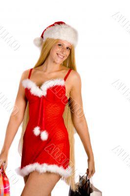 Beautiful Christmas faerie carying her shopping bags
