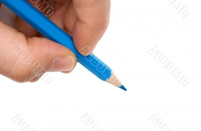 Hand with blue pen on a white background