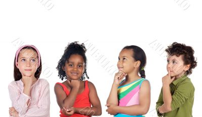 multiethnic group of children thinking
