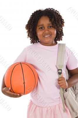 African girl student with basketball and backpack
