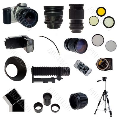 XXL. Photographic equipment set. 16 elements
