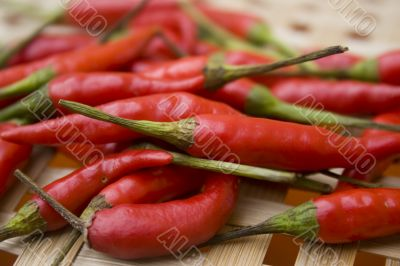 Chili peppers on basket
