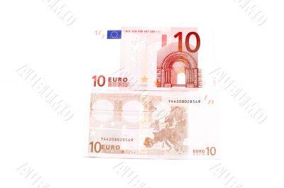 Euro bank-note on white