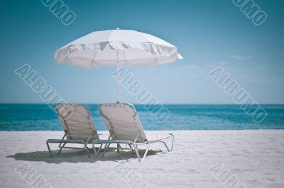 Beach umbrella and chairs - Spain