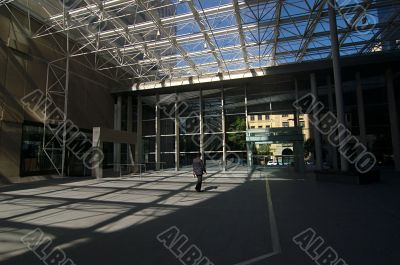 Modern business center in shadows