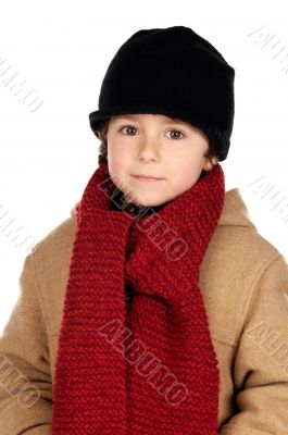 Child handsome very warm with hat and scarf wool Child handsome