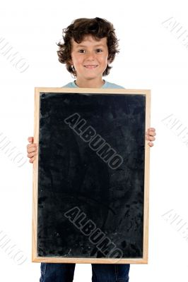 Child with empty slate to put words