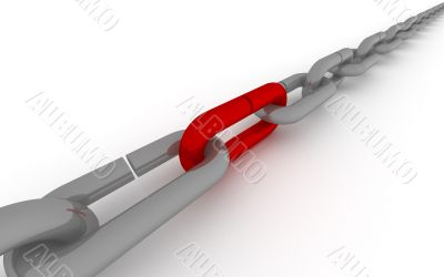 Metal chain on a white background. 3D image.