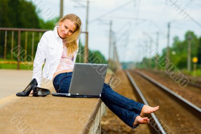 beautiful young lady with notebook