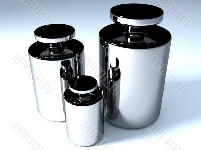 Three chromium-plated glossy weights