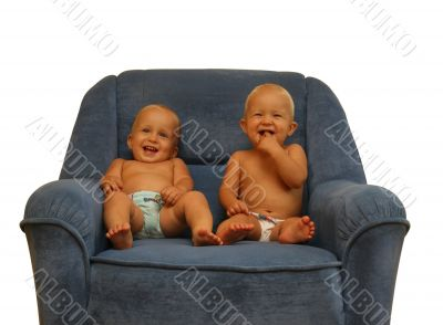 Two boys in the armchair