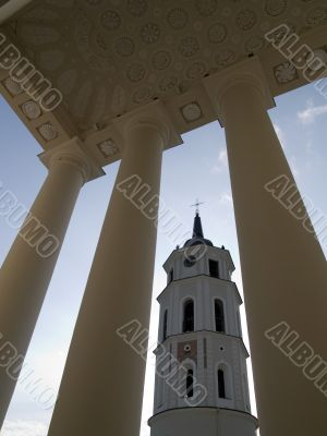 Belfry view through the pillars of cathedral