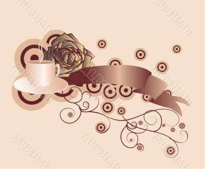 brown scroll winth coffee and rose background