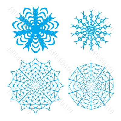 vector ornate snowflake set