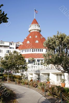 Historic victorian beach hotel on coronado