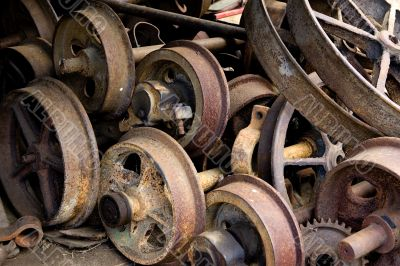 old rail wheels background