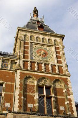big clock on central station in Amsterdam, netherlands