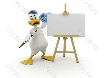 Duck with empty canvas