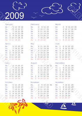 calendar of 2009. Monday is first