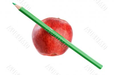 Apple red with green pen