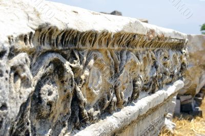 Ancient marble ruins with ornamental decoration. Hierapolis - Pa