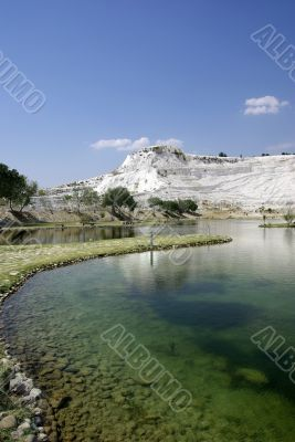 Lake in Pamukkale. Nature phenomenon. Turkey.