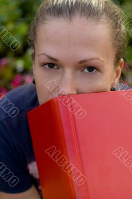 woman with red book