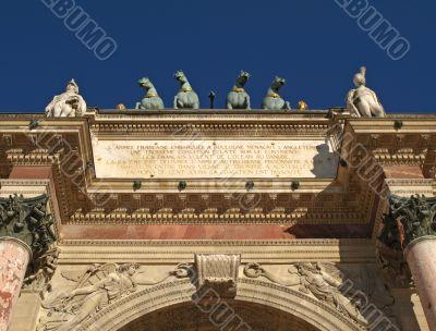 Paris - statue group of the Carrousel Triumph Arch