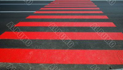 pedestrian crossing on a fresh asphalt
