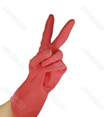 womanish hand is in a pink glove