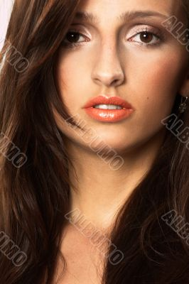 Young Woman with Windswept Hair