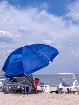 Blue sunshade on a beach