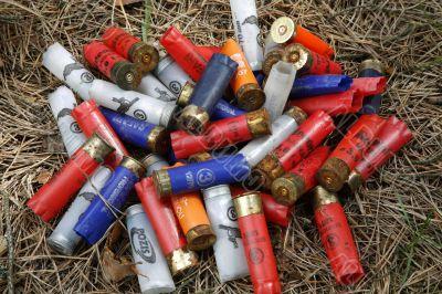 Empty plastic shotgun shells
