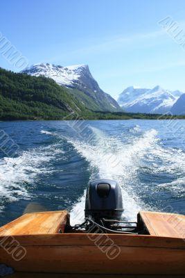 Motor boat in a gulf
