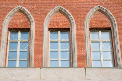 white-framed windows