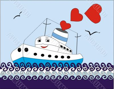 ship of love allowing smoke from hearts