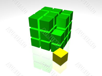 3D Green cube on the white background